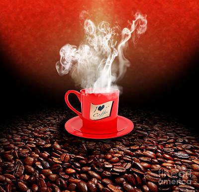 I Love Coffee Art Print by Stefano Senise