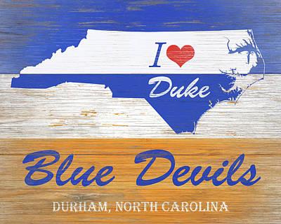 I Love Duke Blue Devils Art Print