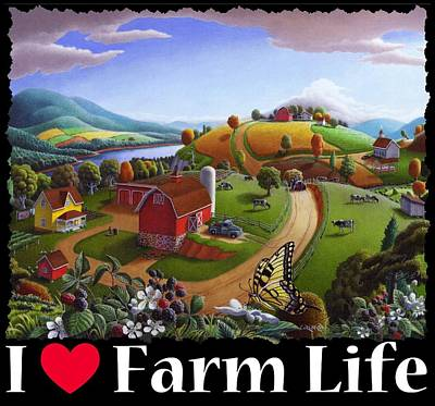 Redlin Painting - I Love Farm Life T Shirt - Appalachian Blackberry Patch 2 - Rural Farm Landscape by Walt Curlee