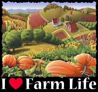Old Barn Painting - I Love Farm Life T Shirt - Appalachian Pumpkin Patch - Rural Farm Landscape 2 by Walt Curlee