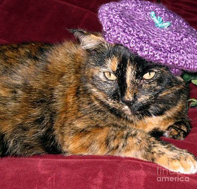 Photograph - I Love Hats... Purple Knitted Beret  by Oksana Semenchenko