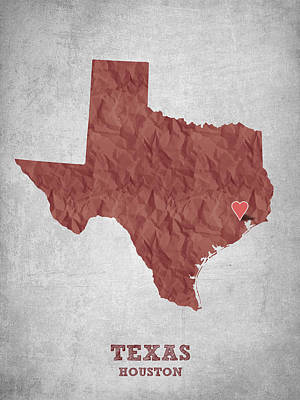 World Map Poster Digital Art - I Love Houston Texas - Red by Aged Pixel