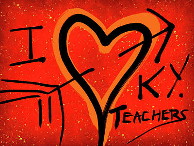 Digital Art - I Love Kentucky Teachers by Janis Kirstein