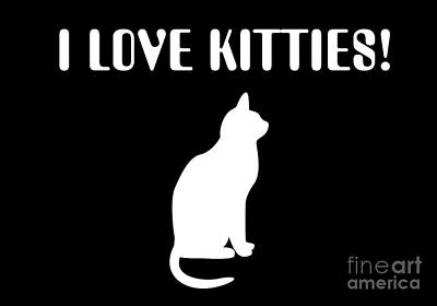 Digital Art - I Love Kitties In White by Andee Design