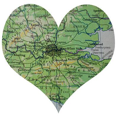 I Love London Heart Map Print by Georgia Fowler