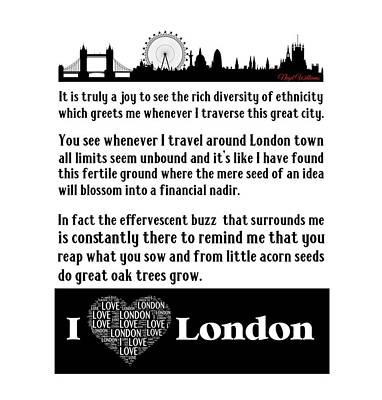 Digital Art - I Love London by Motivational Artwork