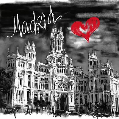 Digital Art - I Love Madrid  by Sladjana Lazarevic