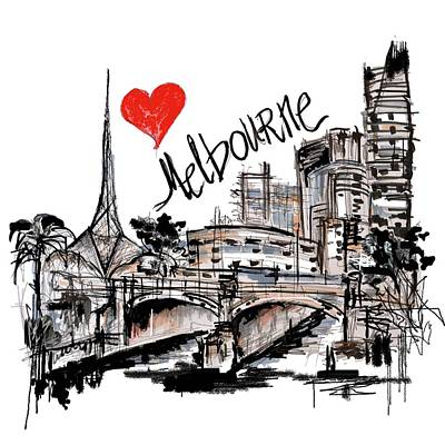 Drawing - I Love Melbourne  by Sladjana Lazarevic