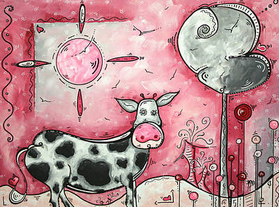 Gray Painting - I Love Moo Original Madart Painting by Megan Duncanson