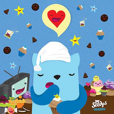 Cute Cupcakes Digital Art - I Love Night Time by Seedys