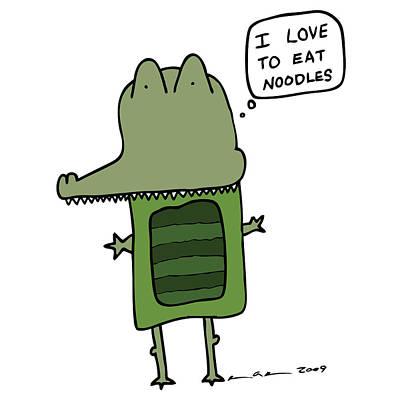 Alligator Drawing - I Love Noodles Comic - Color by Karl Addison