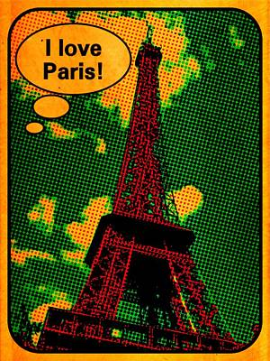 Comics Royalty-Free and Rights-Managed Images - I Love Paris Comic by John Springfield