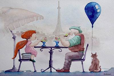 Painting - I Love Paris Grandpa by Geni Gorani