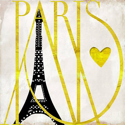 Word Art Painting - I Love Paris by Mindy Sommers