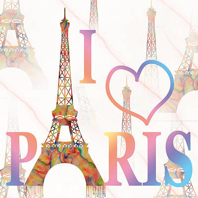 Art Print featuring the painting I Love Paris Mixed Media by Georgeta Blanaru