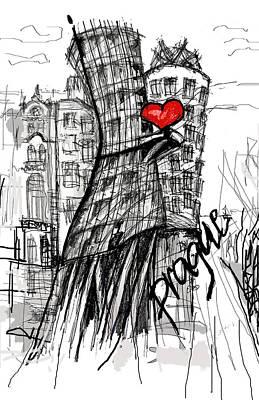 Prague Czech Republic Drawing - I Love Prague by Sladjana Lazarevic