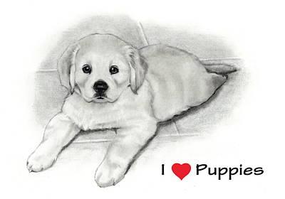 I Love Puppies Golden Retriever Art Print by Joyce Geleynse