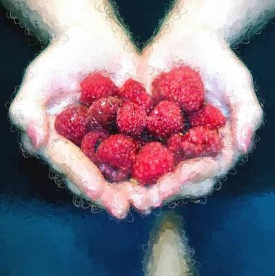Raspberry Mixed Media - I Love Raspberries by Gary Guthrie