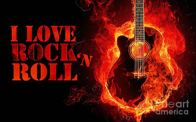 Music Royalty-Free and Rights-Managed Images - I love rock and roll  by Edward Fielding