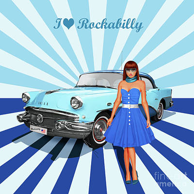 50s Mixed Media - I Love Rockabilly, Variant 2 In Blue by Monika Juengling