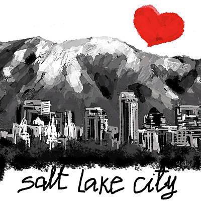 Digital Art - I Love Salt Lake City  by Sladjana Lazarevic