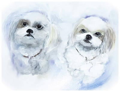 Digital Art - I Love Shih-tzu Painting by Lisa Kaiser