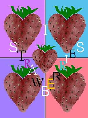 I Love Strawberries Art Print