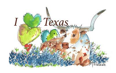 Painting - I Love Texas Bessie In The Bluebonnets Lh007 by Kathleen McElwaine
