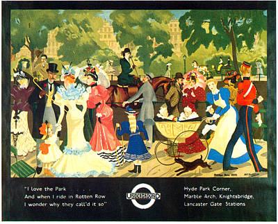 Hyde Park Mixed Media - I Love The Park - London Underground, London Metro, Suburban - Retro Travel Poster by Studio Grafiikka