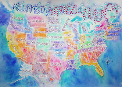 Painting - United States Of America Map  by Lisa Vincent