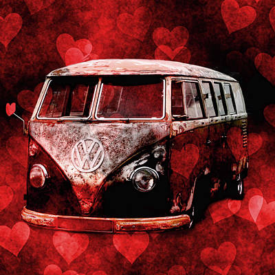 Library Digital Art - I Love Vw Campers by Martin  Fry