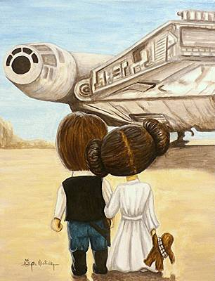 Science Fiction Painting - I Love You     I Know by Al  Molina