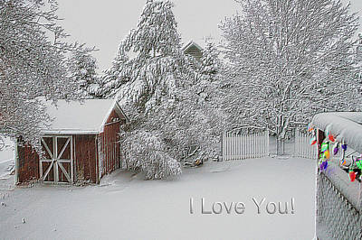 Shed Mixed Media - I Love You Fresh Snow Fall In March by Thomas Woolworth