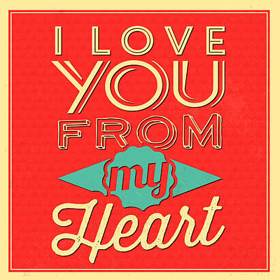 I Love You From My Heart Art Print by Naxart Studio