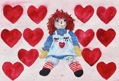 Raggedy Ann Painting - I Love You by George Powell
