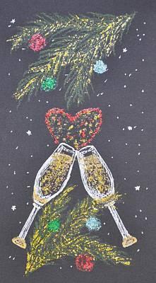 Champagne Glasses Painting - I Love You by Georgeta  Blanaru