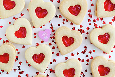 Photograph - I Love You Heart Cookies by Teri Virbickis