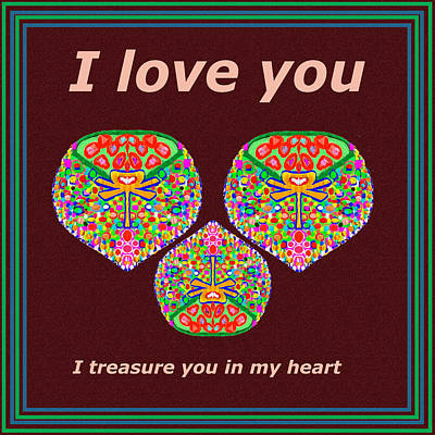 Heart Images Mixed Media - I Love You I Treasure You In My Heart  by Navin Joshi