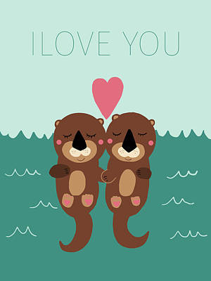 Otter Digital Art - I Love You by Nicole Wilson