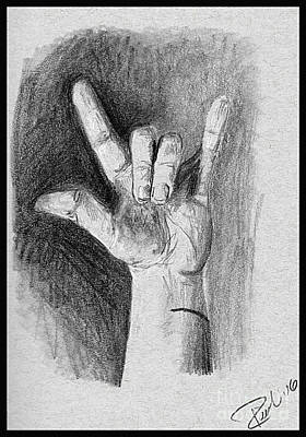Asl Drawing - I Love You by Sarah Derrie