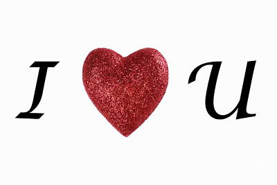 I Love You Sign On White Background Art Print by Sami Sarkis
