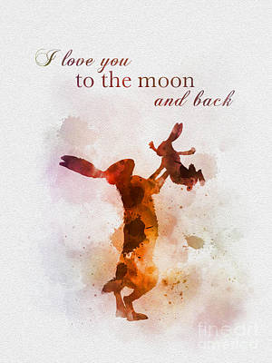 Mixed Media - I Love You To The Moon And Back by Rebecca Jenkins