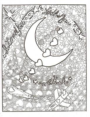 Drawing - I Love You To The Moon And Back by Wendy Coulson