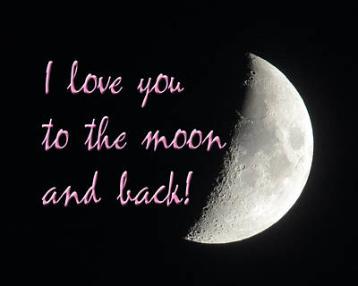 I Love You To The Moon Pink Art Print