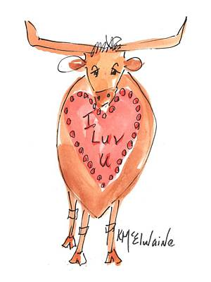 Painting - I Luv You Texas Valentine by Kathleen McElwaine