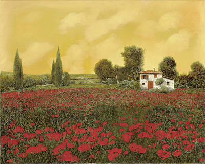 Curated Round Beach Towels - I Papaveri E La Calda Estate by Guido Borelli