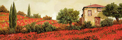 Paintings - I Papaveri Sulla Collina by Guido Borelli
