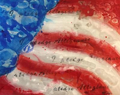 Us Flag Mixed Media - I Pledge Allegiance by Melissa Torres
