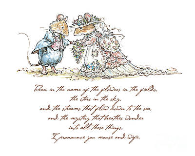 Mouse Drawing - I Pronounce You Mouse And Wife by Brambly Hedge