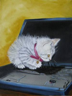 Pet Painting - I See A Mouse by Joni McPherson